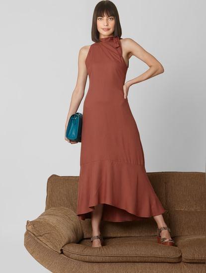 Brown Ruffled Hem Maxi Dress