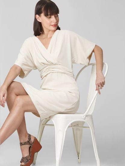 Off-white Ruched Waist Shift Dress