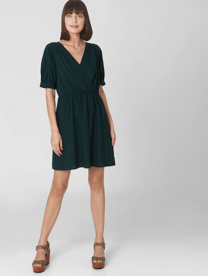 Dark Green Wrap V Neck Fit & Flare Dress