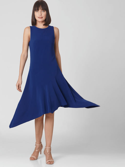 Blue Asymmetric Midi Dress