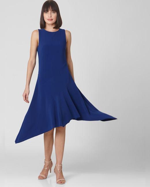 Blue Asymmetric Midi Dress