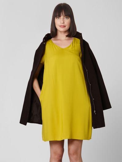 Mustard V Neck Shift Dress