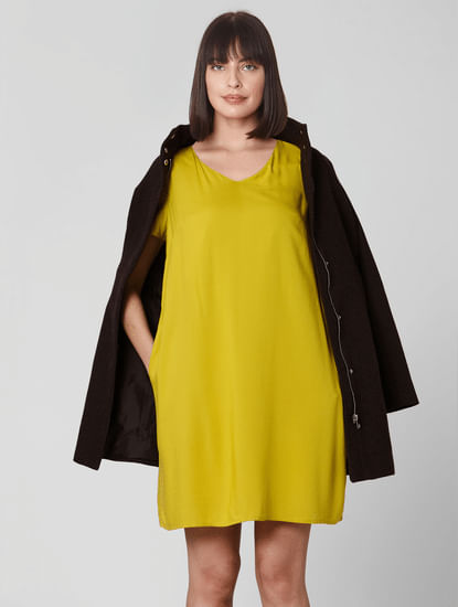 Mustard V Neck Shift Dress