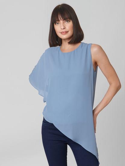 Light Blue Oversized One Shoulder Top