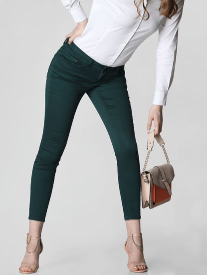 Green Mid Rise Skinny Fit Jeans
