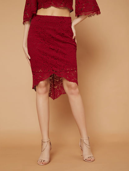 MARQUEE Red Lace Pencil Skirt