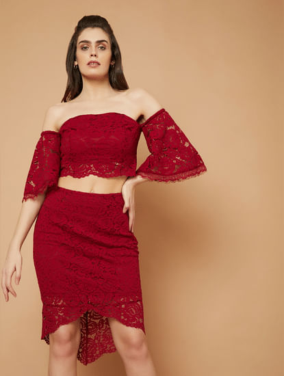 MARQUEE Red Lace Off Shoulder Top