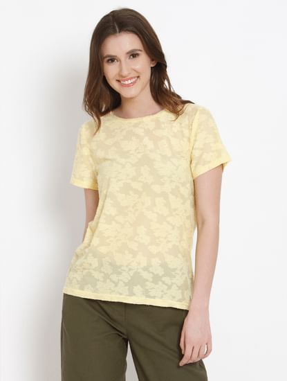 Yellow Burn Out Detail Top
