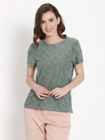 Green Burn Out Detail Top