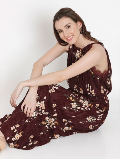 Burgundy Floral Print Maxi Dress