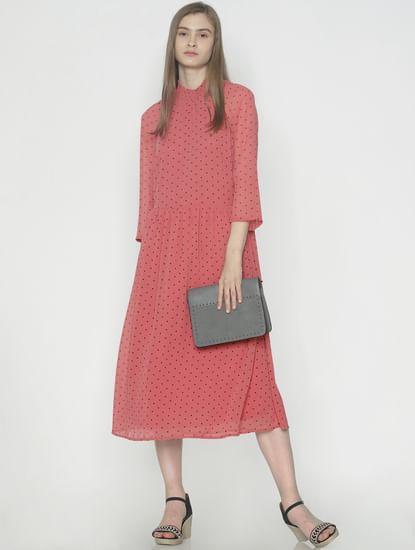 Peach Polka Dot Print Midi Dress