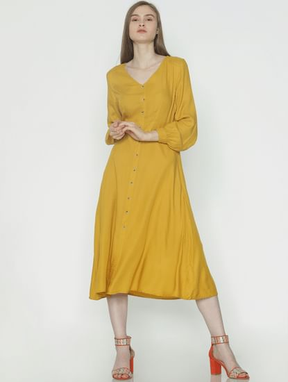 Mustard Button Down Midi Dress