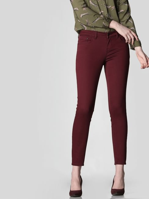 Burgundy Mid Rise Skinny Fit Jeans