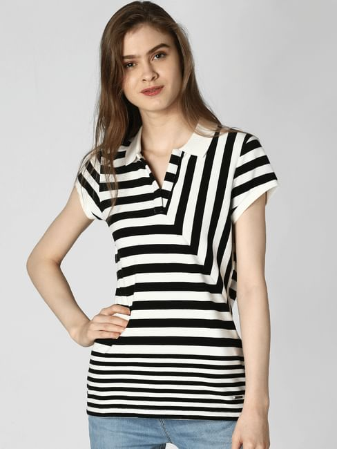 White Striped Polo T-Shirt