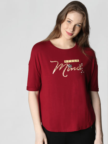 Dark Red Text Print T-Shirt