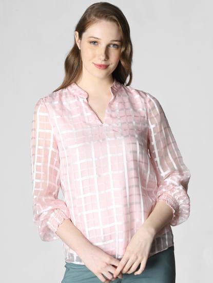 Light Pink Check Sheer Top