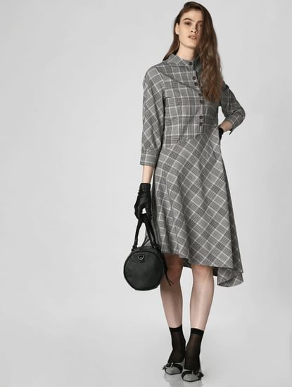 Grey Check Asymmetric Midi Dress