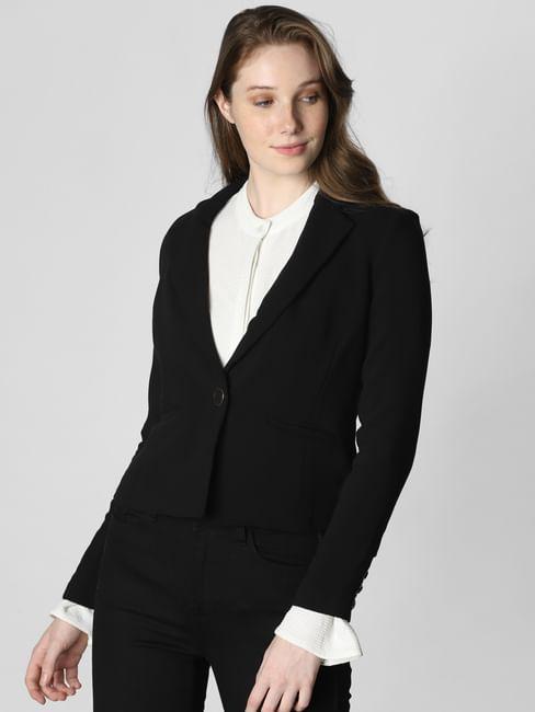 Black Single Button Formal Blazer