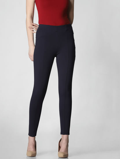 Navy Blue Mid Rise Skinny Fit Leggings