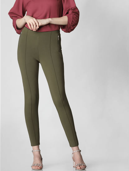 Green Mid Rise Zip Detail Skinny Leggings