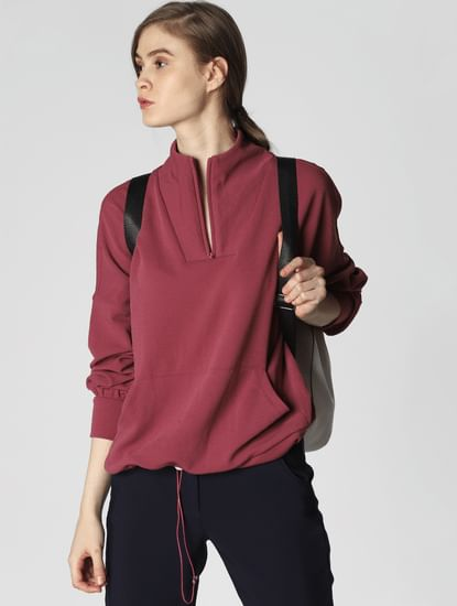 Pink High Neck Sweatshirt