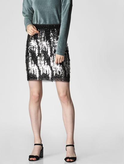 Black Sequin Embellished Skirt