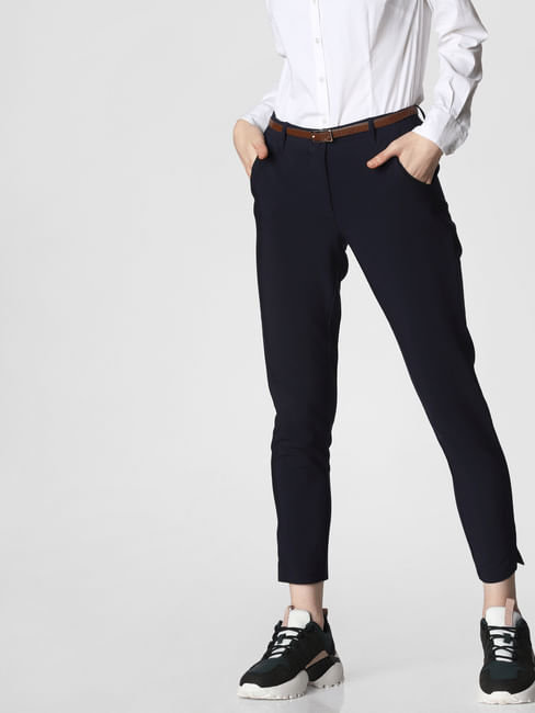 Navy Blue Mid Rise Chino Pants
