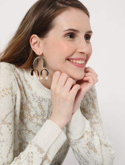 Golden Faux Pearl Drop Earrings