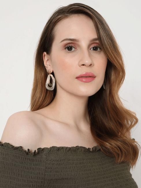 White & Gold Abstract Drop Earrings