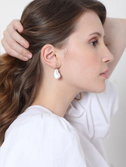 White Faux Pearl Drop Earrings