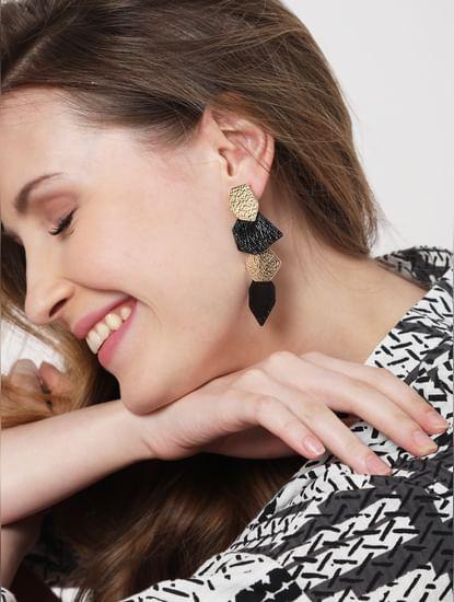 Black & Gold Textured Drop Earrings