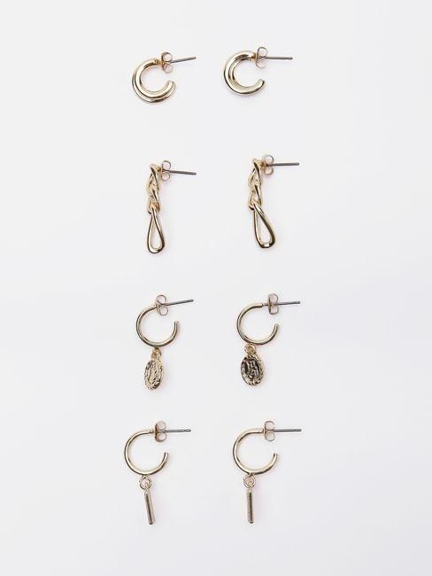 Golden Chain Link Earrings - Set of 4