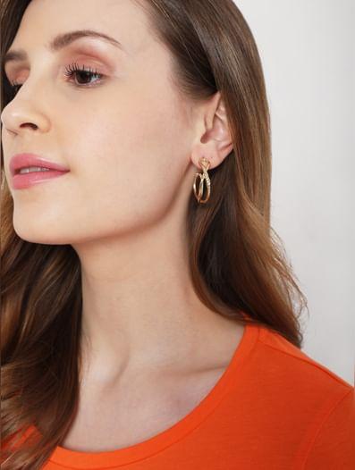 Golden Hoop Earrings - Set of 3