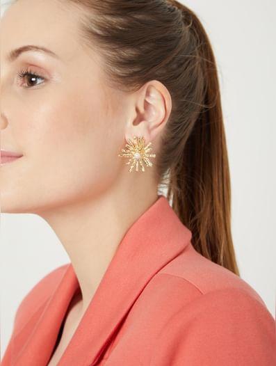 Golden Floral Stud Earrings
