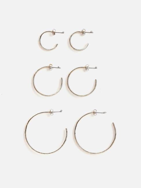 Golden Textured Hoops - Set of 3