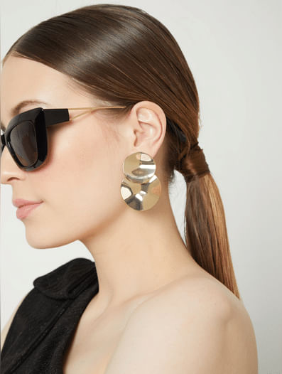 Golden Layered Drop Earrings