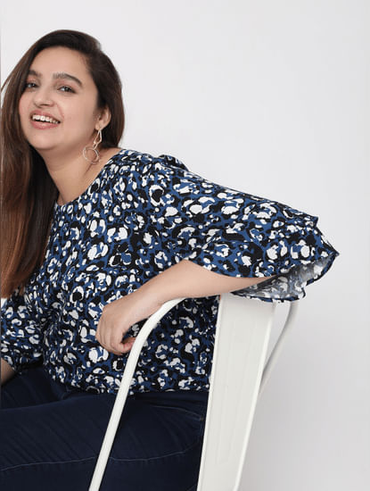 Blue Abstract Print Top