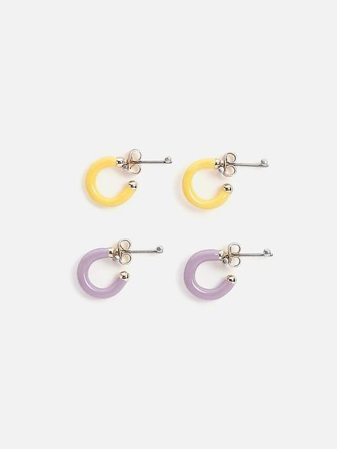Yellow & Purple Mini Hoop Earrings