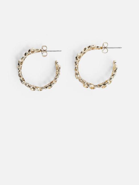 Golden Textured Hoop Earrings