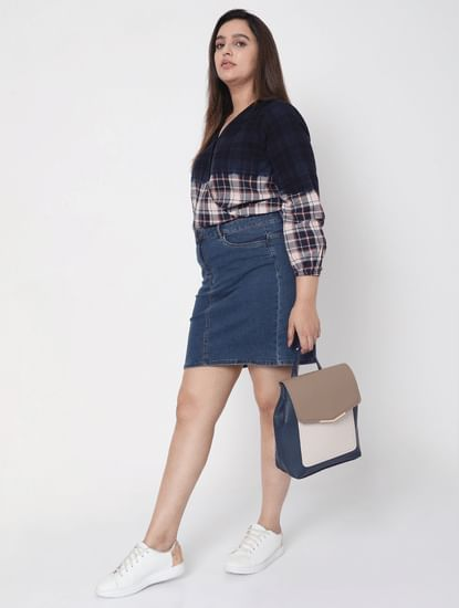 Blue Washed Check Top