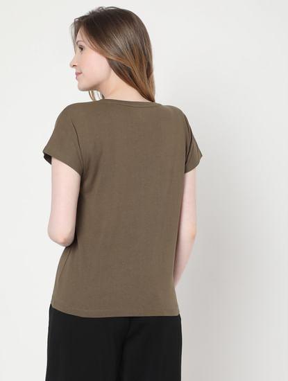 Green Slogan Print Lounge T-shirt