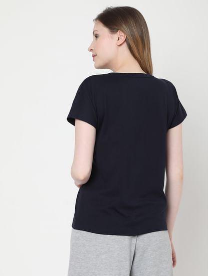 Blue Slogan Print Lounge T-shirt