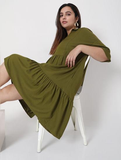 Green Tiered Shift Dress