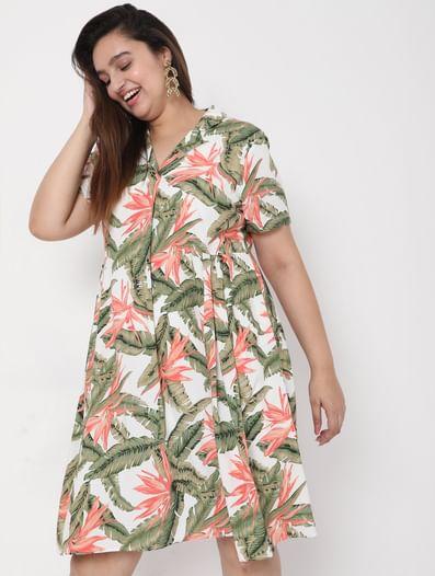 White Collared Tropical Print Dress