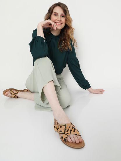 Tan Animal Print Sandals