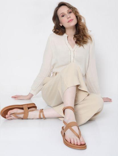 Brown Criss Cross Platform Sandals