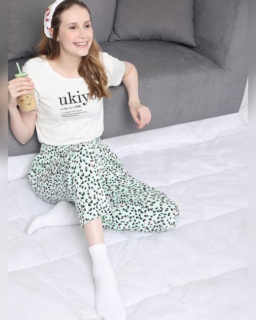 White Printed Pyjama Set