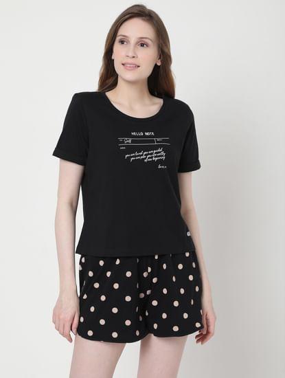 Black Polka Dot Shorts & T-shirt Set