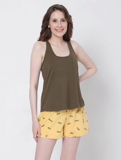 Brown & Yellow Tank Top & Shorts Set