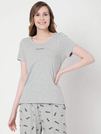 Grey Printed T-shirt & Joggers  Set